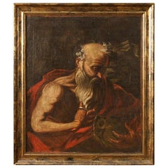 18th Century Antique Oil on Canvas Italian Religious Saint Jerome Painting