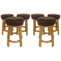 Rattan Counter Stools with Naugahyde Upholstered Seats by Clark Casual Furniture