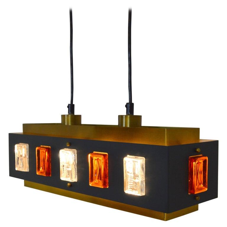 Brass and Glass Ceiling Lamp by Einar Bäckström and Erik Höglund For Sale