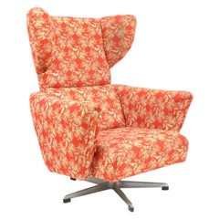 Vintage Czech Wing Chair on Rotary Leg by UP Závody, 1970s