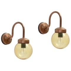Pair of Outdoor Wall Lights in Copper by Gnosjö Konstsmide AB, Sweden, 1970s