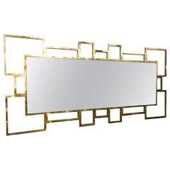 Italian Rectangular Brass Frame Mirror Geometrical Shape, 1980s