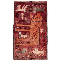 Antique Persian Qashqa'i Gabbeh Lion Rug