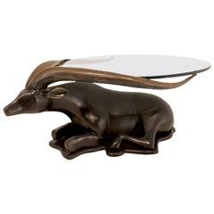 Antelope Bronze Coffee Table-Sculpture, Glass Tray, circa 1960