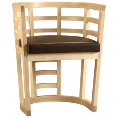 Contemporary Wooden Armchair Made of Maple Solid Wood with Padded Seat