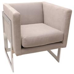Milo Baughman, Flat Bar Cube Chair, Chrome with Grey Fabric