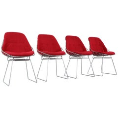 Set of 4 Cees Braakman Pastoe SM05 Wire Chairs