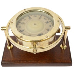 Brass Compass Mounted on a Walnut Wood Board