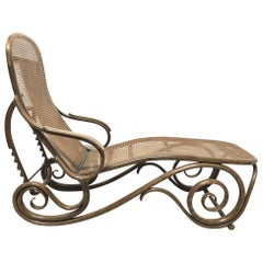 Thonet, a Bentwood Chaise Lounge with Wonderful Scroll Work Details & Cane Work