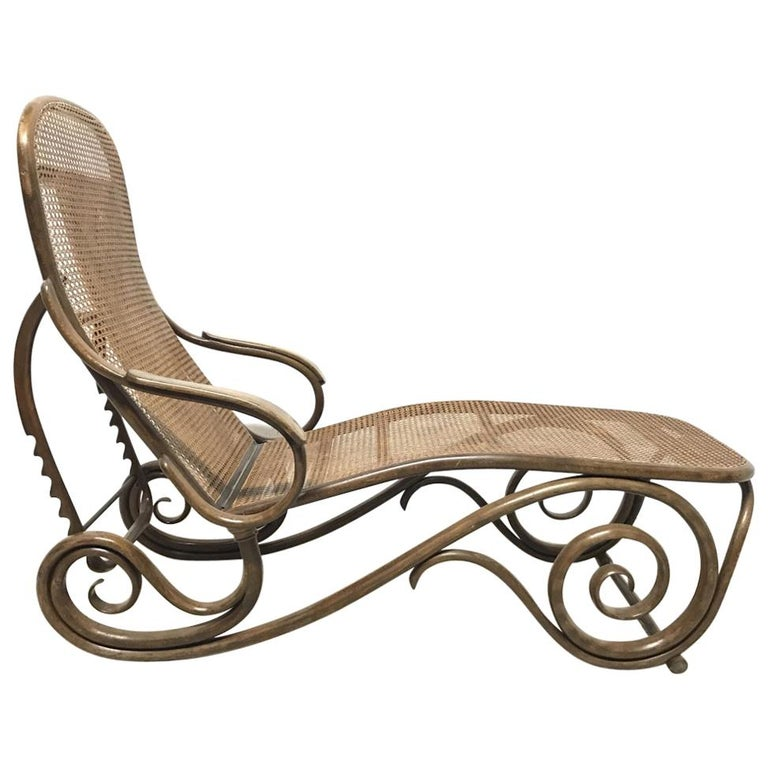 Thonet, a Bentwood Chaise Lounge with Wonderful Scroll Work Details & Cane Work 1