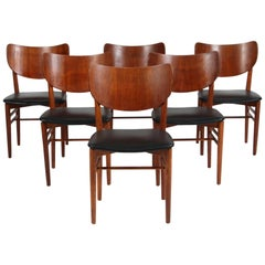 Niels & Eva Koppel Set of Six Chairs in Oak and Teak, Black Leather, 1950s