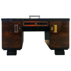 Original 1920s Art Deco Desk with Alcantara Leather
