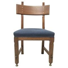 E W Pugin, a Walnut Side Chair with Curvaceous Back Rest with Oak Pegs
