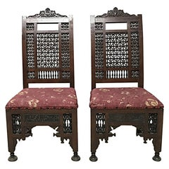 Liberty & Co. a Pair of Moorish Side Chairs with Carving & Moucharabieh Turnings