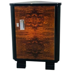 Art Deco Walnut Corner Cabinet or Commode