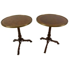 Pair of Noteworthy Theodore Alexander Burl and Zebrawood Round Side Tables
