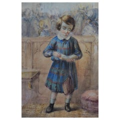 19th Century, Scottish Watercolor Drawing of Highland Boy