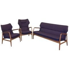 Lounge Suite in Oak, Teak and Wool by Aksel Bender Madsen for Bovenkamp 1950s