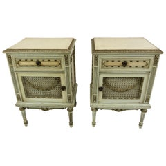 Pair Of French Louis Xv Style Painted Nightstands