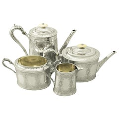 Antique Victorian Sterling Silver Four-Piece Tea and Coffee Service, 1870