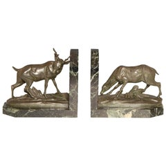 Art Deco Stag and Doe Bookends