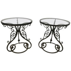 Pair of Arts & Crafts Side Tables with Hand Formed Wrought Iron Scroll Details