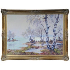 Oil Painting Signed H. Hartung Landscape Painting