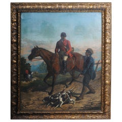 Oil Painting Sign H. George 1893 Man of Horse with Hunting Dogs