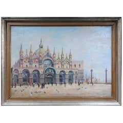 Venice Oil Painting Sign V. Funiciello, 1920 Italia