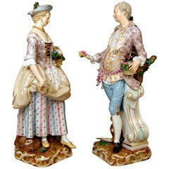 Meissen Gardeners Couple Male Female Models 2868 B 65 Kaendler Schoenheit, 1870