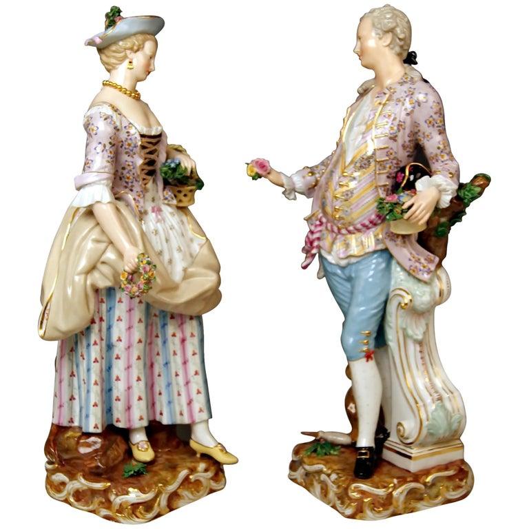 Meissen Gardeners Couple Male Female Models 2868 B 65 Kaendler Schoenheit, 1870 For Sale