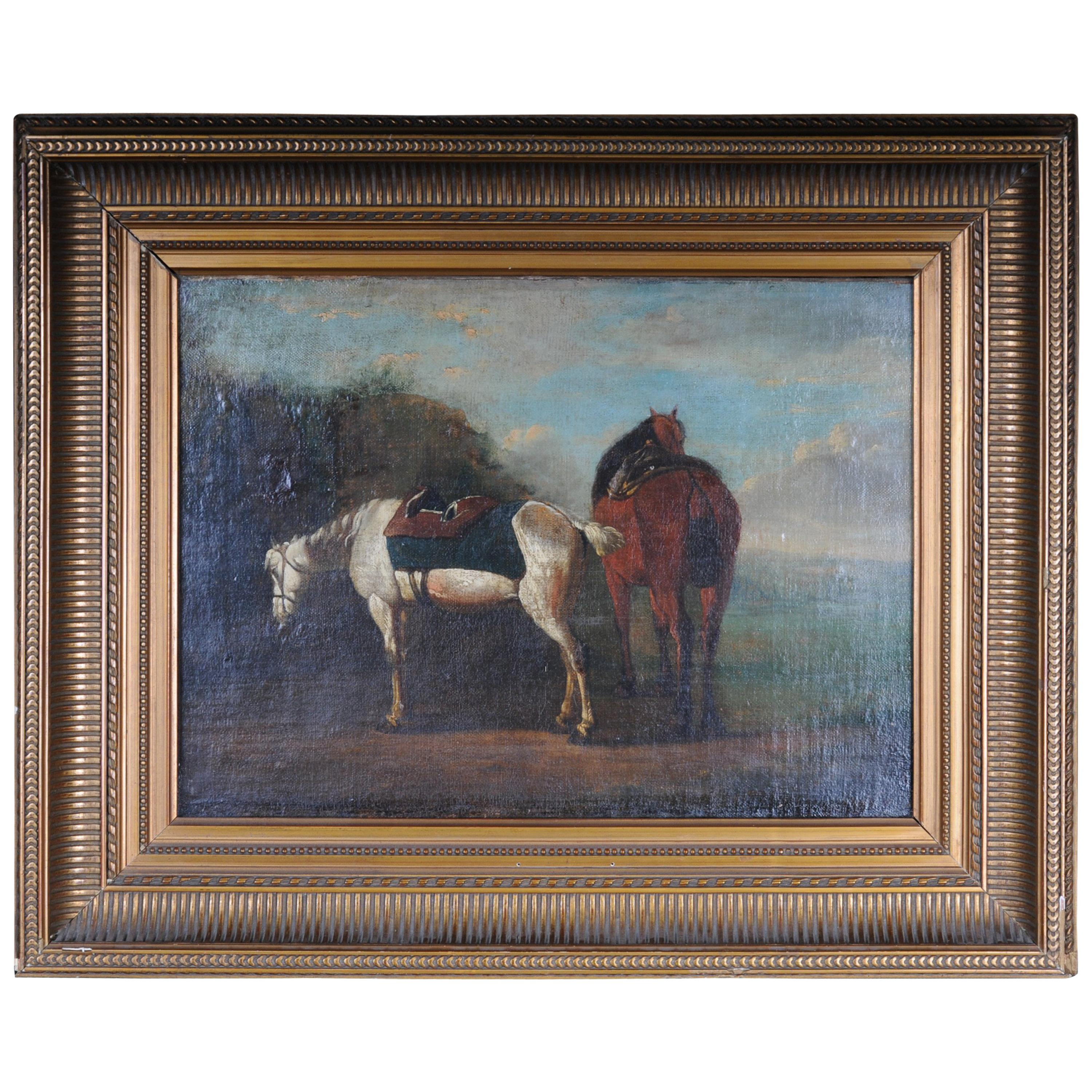 Old Oil Painting Illustration 2 Horses on the Landscape
