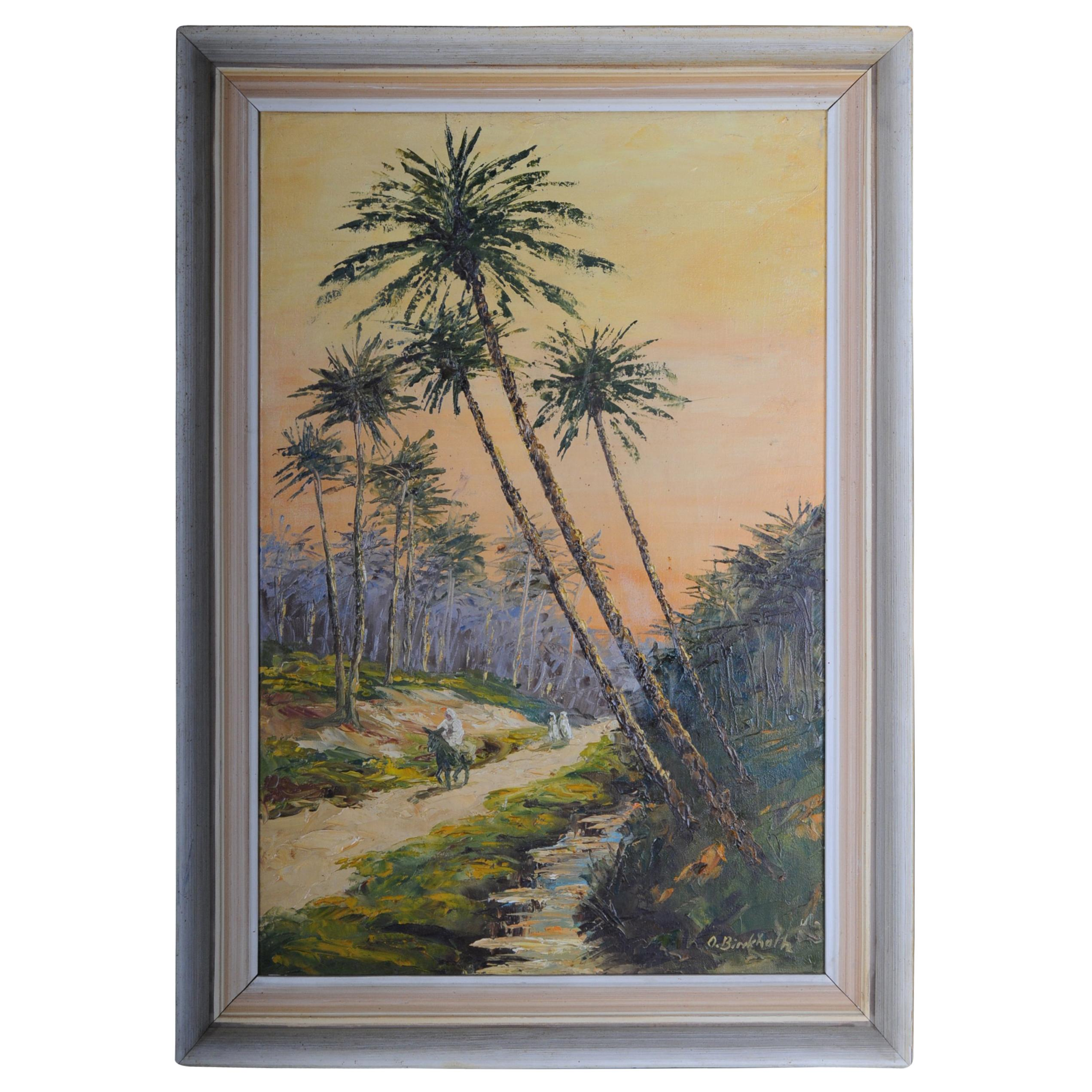 Oriental Painter Oil Painting, Signed O. Birkholz