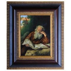 "Porcelain Picture Plate Painting After Salomon Koninck ""The Hermit"""