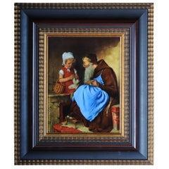 """Porzellanteller Bild malen nach H. Kaulbach """"eine alte Schülerin"""" MG 1990"""