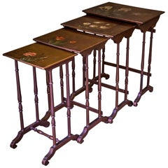 Antique Lacquered and Painted Quartetto Nest of Four Tables