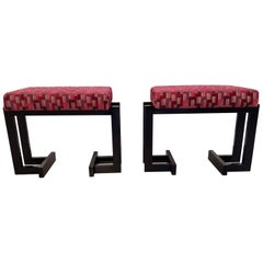 Pair of French Art Deco Upholstered Stools with Black Wood