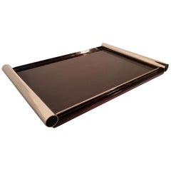 French Art Deco Lacquered Macassar Wood Tray with Nickel Handles