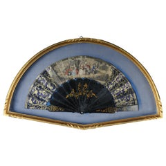 Decorative Hand Fan in Gilded Frame Demilune, 20th Century Old
