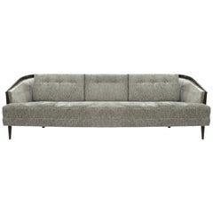 Low Profile MCM Walnut Frame Sofa in Grey Chenille
