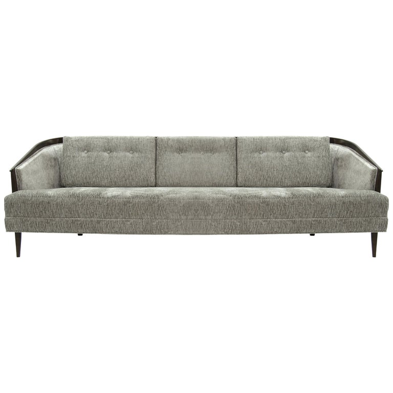 Low Profile Mcm Walnut Frame Sofa In Grey Chenille For