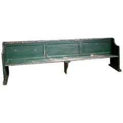Large 19th Century Original Painted Panelled Tavern Bench
