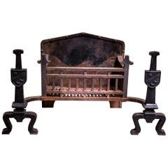 Antique Victorian 19th Century Cast Iron Fire Grate & Andirons