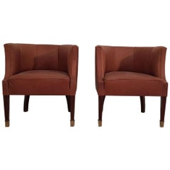 Pair of Art Deco Armchairs on Walnut Legs Covered Brown Leather, Hungary, 1930s