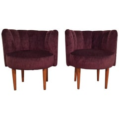 Pair of Hungarian Midcentury Small Upholstered Armchairs