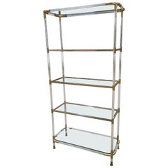 Mid-Century Modern French Lucite and Brass Etagere with Glass Shelves, 1970s