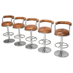 French Leather and Chrome, Mid-Century Modern Bar Stools, Set of 5