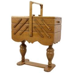 Vintage Oak Sewing Box, 1970s
