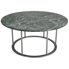 Round Marble Dining Table with a Steel Base for Indoor or Outdoor Use