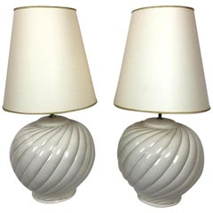 Tommaso Barbi Pair of Cream Ceramic Table Lamps and Shades